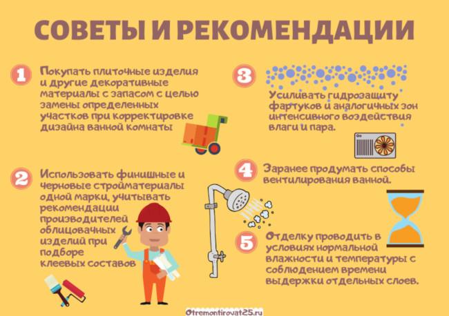 советы по отделки ванной